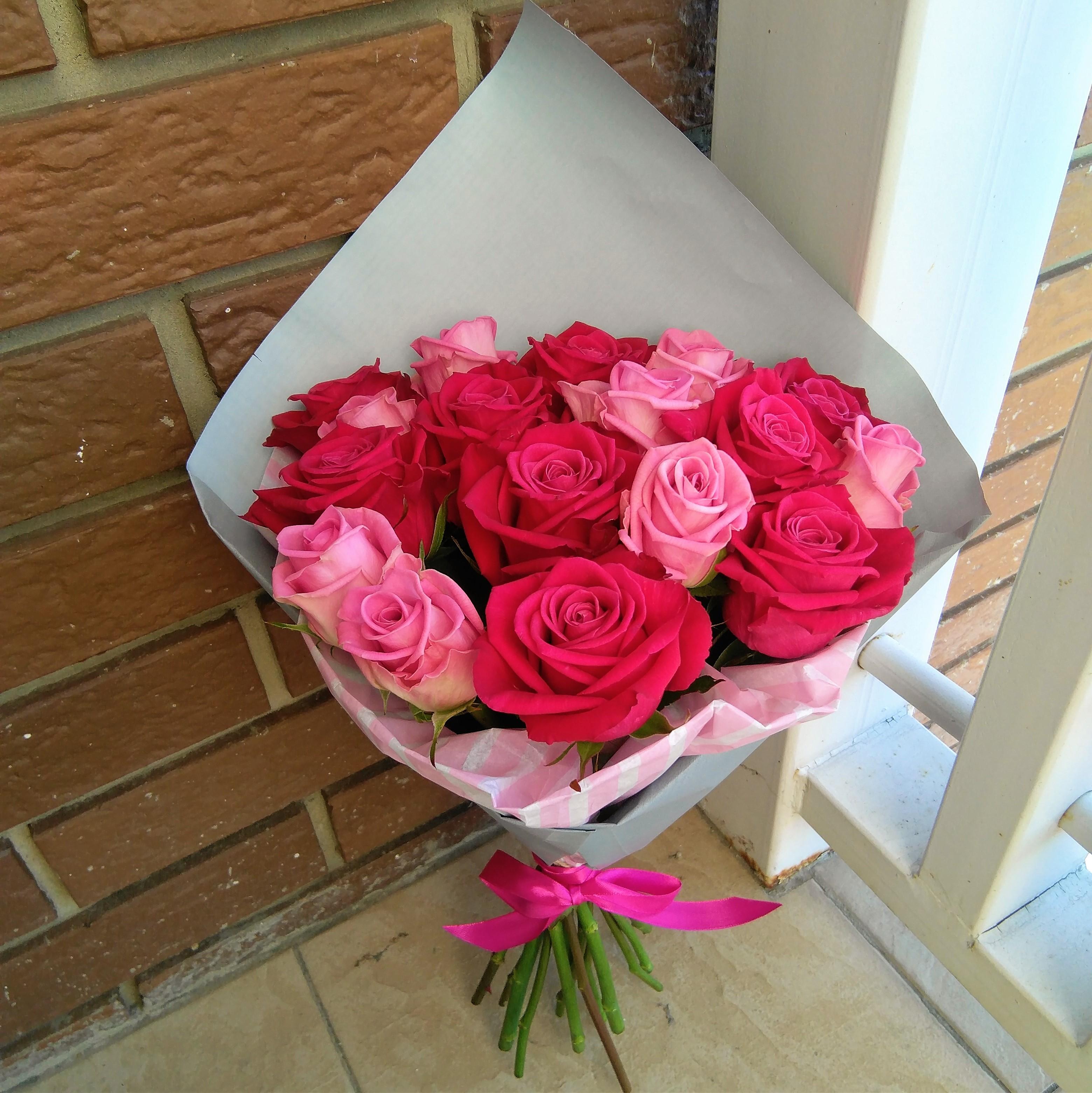 Букет роз из 17 розовых, оптом цветы киевском