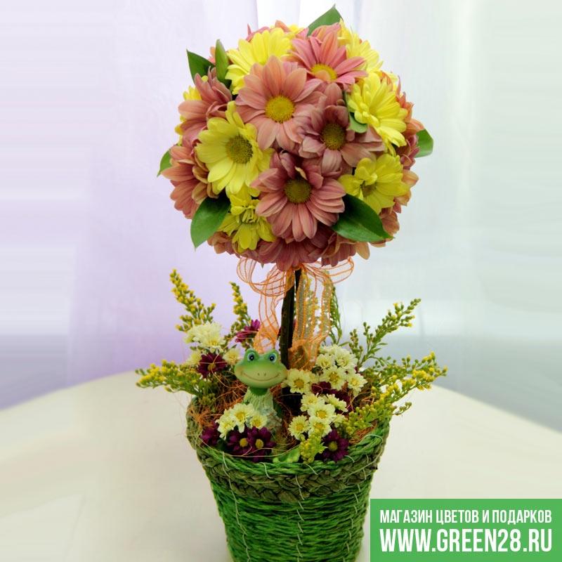 Сделать топиарий из живых цветов