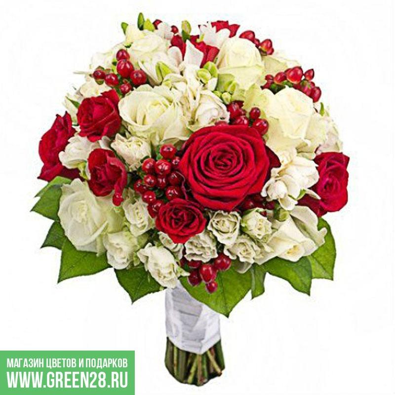 Открытый букет невесты «Инь и Янь»